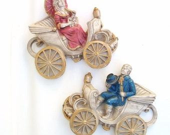 Vintage Chalkware Plaques 3D Wall Art / Victorian Lady and Man Wall Hanging Pink Blue Gold Set of 2