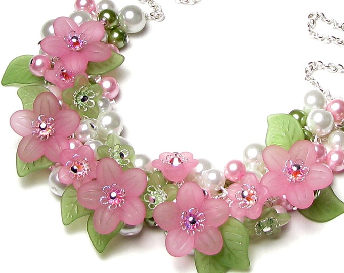 Springtime Love Pastel Pink & Green Floral Charm Necklace, Spring Flower Cluster Silver Necklace, Soft Pastel Colors, Romantic Gift for Her