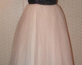 Vintage  Prom Dress 1950s Vintage Clothing Cobalt Sequin Bodice White Tulle Skirt Princess Tea Length Cocktail Dress Vintage Clothing Small