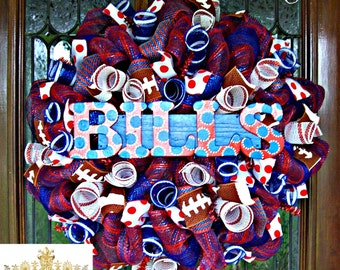 Deco Mesh Buffalo Bills Wreath, deco mesh wreath, football wreath, wreath