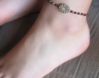 Boho Beach Anklet with rustic turquoise carved bead, Earthy red beaded crochet anklet, Southwestern, Country Chic