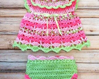 Crochet Baby Dress Set Diaper Dress Set Pink Crochet Baby Dress Pink and Green Baby Girl Dress Newborn Knit Dress Set Crochet Baby Dress