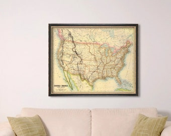 Map of USA -  Giclee archival print - USA map - Fine print - Wall map