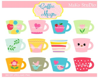 SALE coffee mugs clip art, coffee cups clip art, Digital clip art, instant download