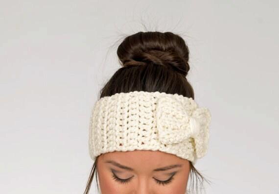 SALE--Ivory Chunky Crochet Bow Headband, Crocheted Ear Warmer, Handmade Women's Warm, Knit Winter Accessory, Cozy Knitwear, Knitted Headwrap