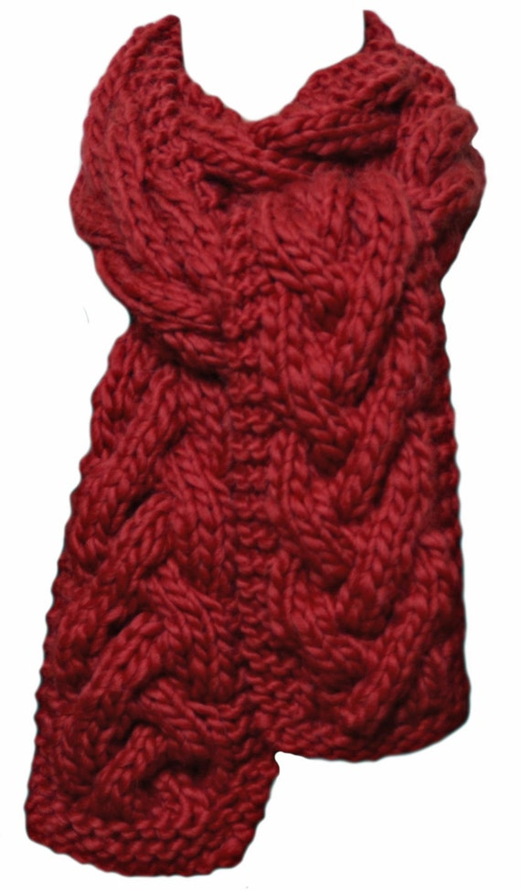knit scarf lava chunky cable alpaca