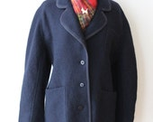Wool Coat / Navy Blue / 1960s 70s Vintage / Outerwear / Womens Clothing / Oversized Coat / Delle Celle / Made in Italy
