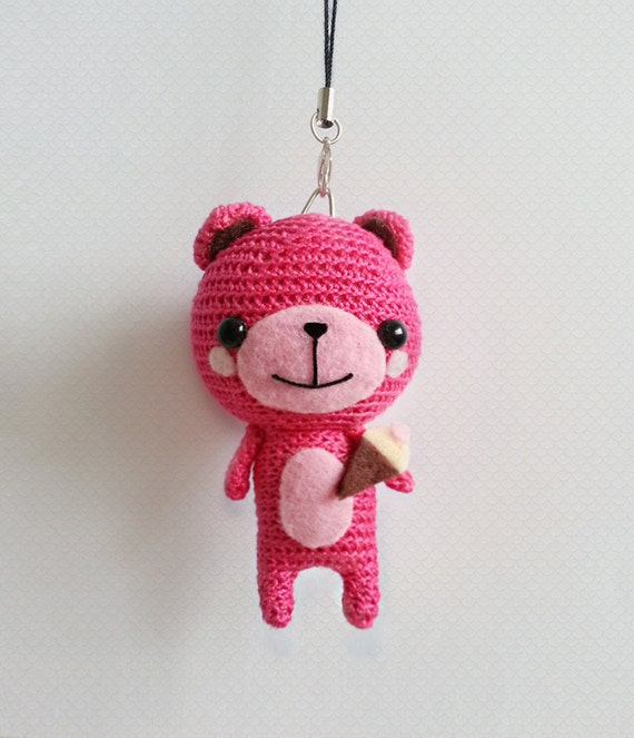 Amigurumi Little Teddy Bear : Crochet Bear Teddy Bear Amigurumi Doll Hot Pink Teddy Bear