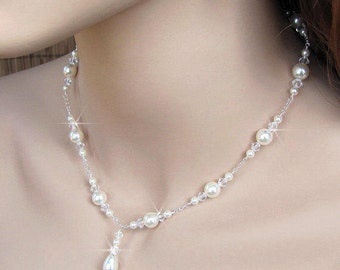 Pearl and Crystal Bridal Necklace Crystal Pearl Wedding Necklace Bridal Y Drop Necklace Wedding Jewelry White or Ivory Pearl Sterling Silver