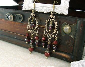 Natural Garnet Earrings - Victorian Style Genuine Garnet Red Earrings Swarovski Antique Brass Filigree Chandelier Earrings Victorian Jewelry