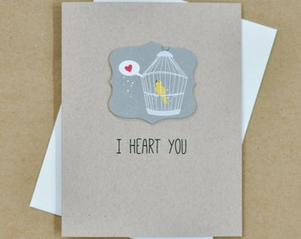 Valentines Day I love you card - I heart you personalized card - Friendship Card - Thank You Card - Bird greeting card - LV08