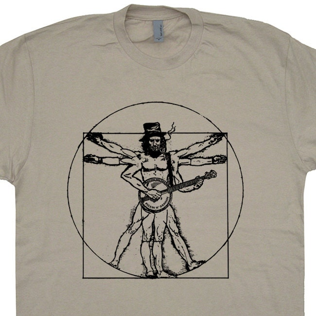 Banjo T Shirt Da Vinci Bluegrass T Shirts Folk Rock Funny