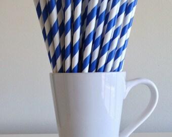 Midnight Blue Striped Paper Straws Royal Blue Party Supplies Party Decor Bar Cart Cake Pop Sticks Mason Jar Straws  Party Graduation