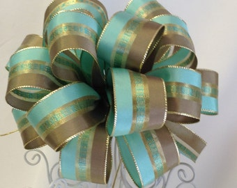 Mint Green and Gold Gift Bow - Gift Bows - Gift Topper Bow -  Bow - Free Shipping
