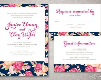 "Romantic Floral ""Janice"" Wedding Invitations Suite - Vibrant Vintage Garden Invite - Custom DIY Digital Printable or Printed Invitation"