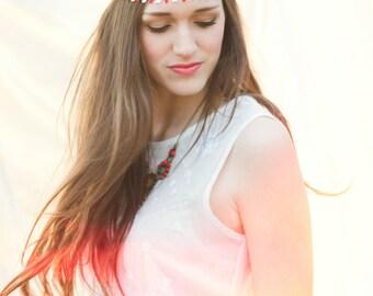 Flower Boho Headband - Red & White Boho Headband - Bohemian Headband - Hippie Headband - Flower Halo Headband - Forehead Headband - Women