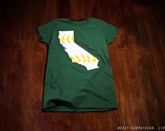 California baseball t-shirt Ladies junior fit or mens forest green white and yellow