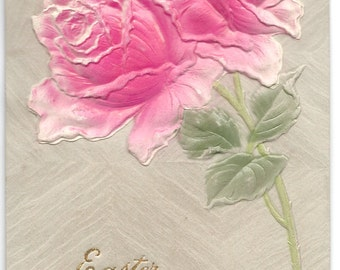 Pink Roses Easter Postcard, c. 1910