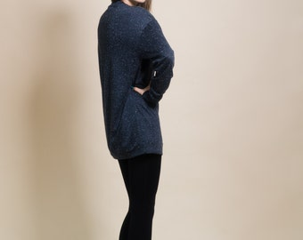 Oversize blue sweater, large tunic sweater, one size women's sweater, blue knit, mother's day gift, gift for her