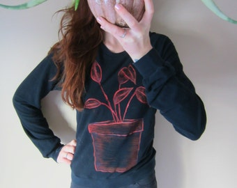 Potted Plant Hand Painted Long Sleeve