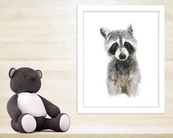 Baby Animal Print, Raccoon Nursery Art, Raccoon Watercolor, Animal Portrait, Woodland Nursery Art, Animal Art, Wildlife Print 11x14