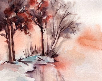 Winter Landscape ORIGINAL watercolor painting, Lake and Trees, Nature Painting