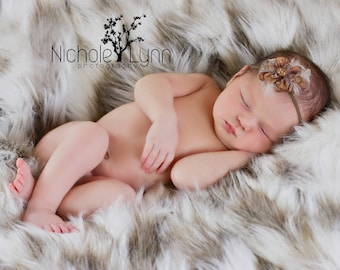 Tibetan Sand Fox Faux Fur Photo Prop, Newborn Photo Prop, Thick Pile, Baby Photo Prop. Layering Blanket.