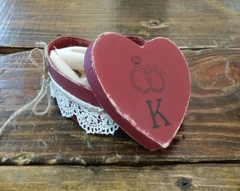 Burgundy Rustic Ring Bearer Heart Shaped Pillow Box, Rustic Ring Bearer Pillow Alternative, Wedding Ring Holder, Personalized Ring Box