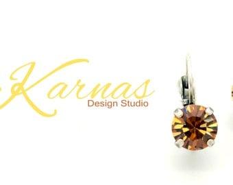 Light Colorado Topaz 8mm Drop or Stud Earrings Made With Swarovski Crystal *Pick Your Finish *Karnas Design Studio™ *Free Shipping*