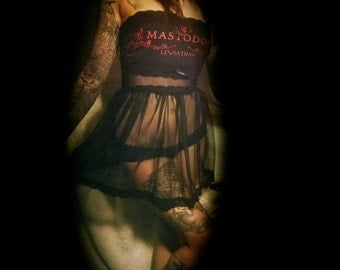 Mastodon Leviathan Chiffon and Lace Babydoll Mini Dress Top XS S One of a Kind