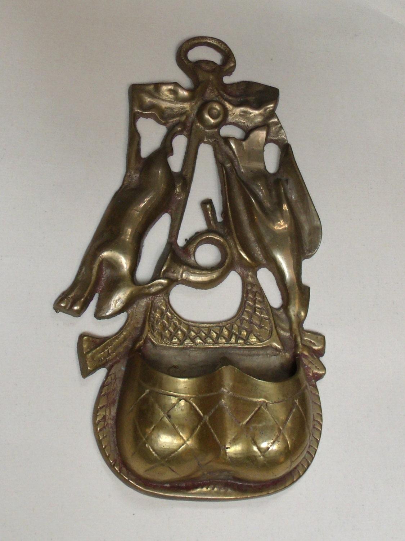 Vintage Brass Hanging Match Safe Hunt Scene Rabbit Horn And