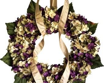 Wreaths | Blended Hydrangea Wreath | Front Door Wreaths | Door Wreath | Summer Wreath | Housewarming Gift | Hostess Gift