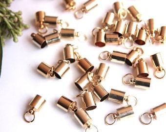 20pcs End Caps, 10mm (0,236'') Jewelry Findings End Caps, Leather End Caps, Cord End Caps, Necklace&Bracelet End Caps, Gold End Caps