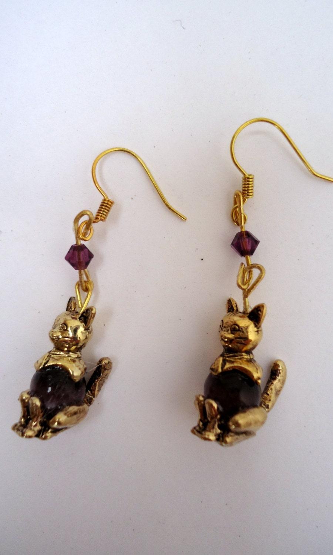 dangling cat earrings gold tone cat earringscat s eye