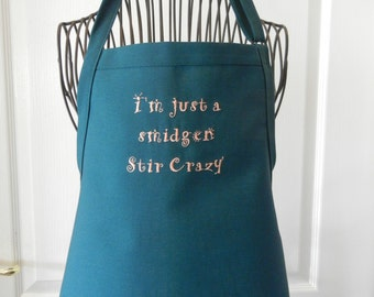 STIR CRAZY Home & Living, Kitchen, Dining, Linens, Aprons, A Great Gift Idea for Her, Hostess, Gourmet, Cute Teal Two Pocket Apron, Linen