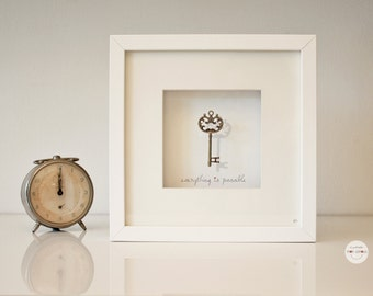 best friend Gift new job - graduation gift Wedding - Anniversary - Art Frame key antique bronze - silver - framed under glass