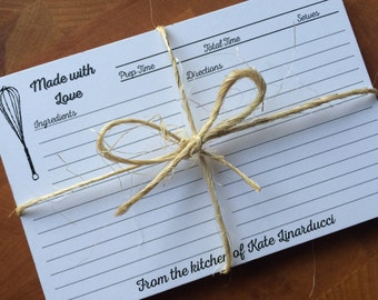 24 Made with Love PERSONALIZED RECIPE CARDS cards Wedding Kitchen Shower Gift Couples  From the Kitchen of 4x6 Elegant Valentine's Whisk