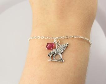 Wolf Bracelet- choose a birthstone, Wolf Jewelry, Wolf Gift, Wolf Birthstone, Wolf Charm Bracelet, Wolf Charm Jewelry, Wolf Charm, Wolf