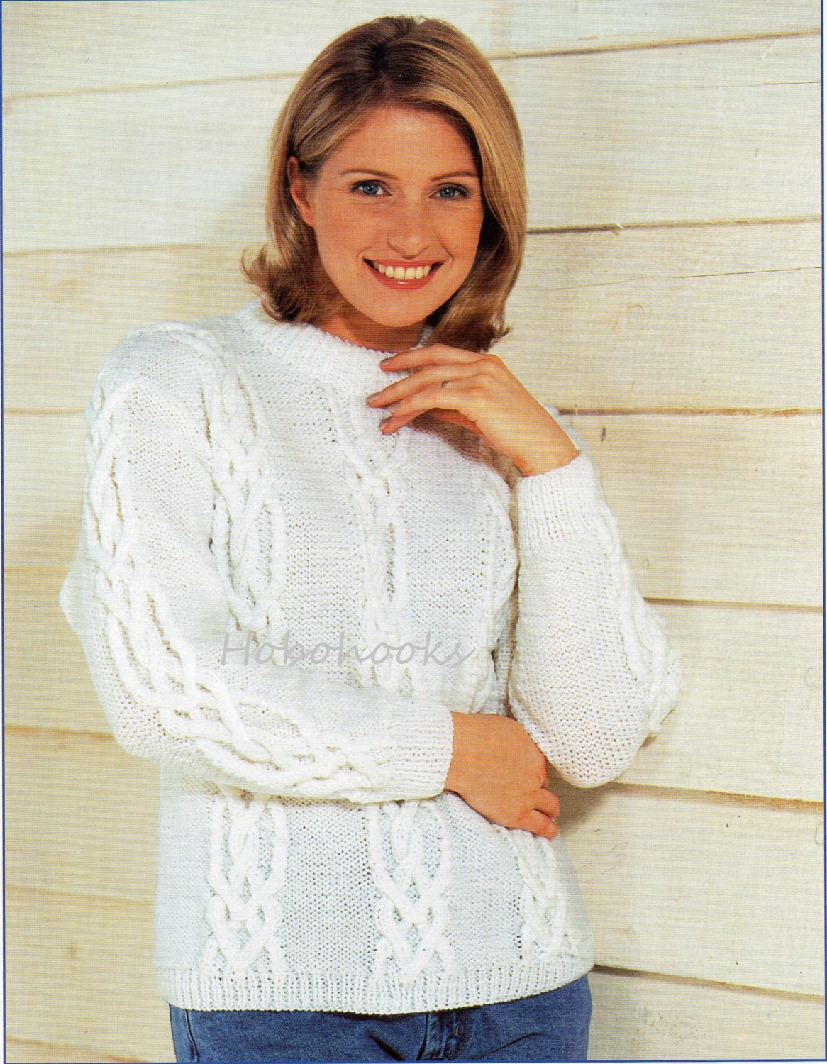 Womens aran sweater knitting pattern pdf ladies cable jumper zoom bankloansurffo Gallery