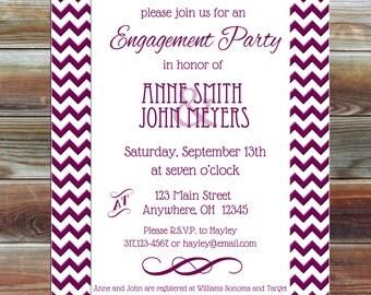 Chevron Engagement Party Invitation - Engagement Invitation - Engagement Party Chevron Invite - Personalized Engagement Party Invite