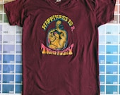Dirty vintage 1970s Roach iron on transfer t shirt  | | | | |  70s maroon tee