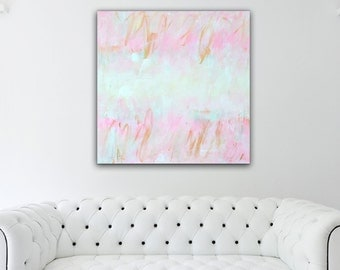 Abstract Painting Pink Gold, Abstract Art, Pink Gold Painting, Large Pastel Canvas, Nursery painting pink, White Mint Yellow, Nursery Decor