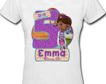 Personalized Doc McStuffins Birthday Girl Iron On Transfer Image