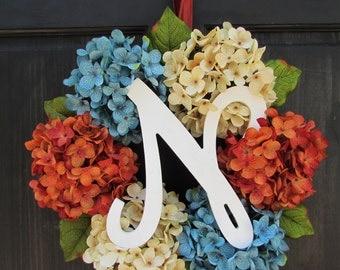 Front Door Wreath, Monogram Wreath, Personalized Wreath, Hydrangea Wreath with Monogram, Door Decor, Front Porch Wreath, Initial Wreath