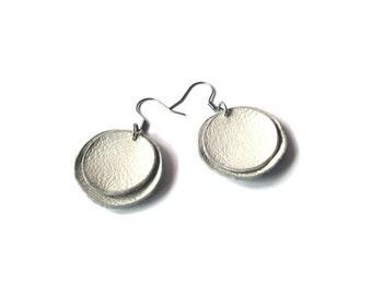 White leather earrings, round earrings, simple dangle earrings, leather jewelry