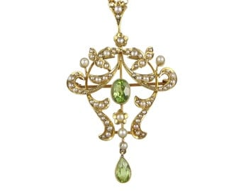 Antique Pendant, Edwardian Peridot Seed Pearl Pendant, In 15ct Gold, Antique Lavalier, Antique Necklace