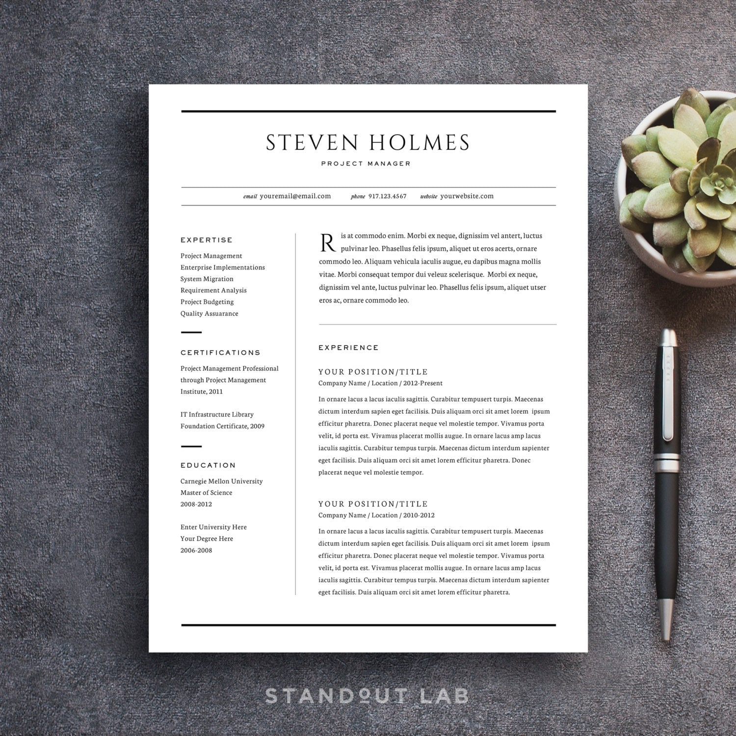Stand Out Cv Designs : Resume template and cover letter professional design