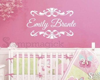 Baby Girl Name Decal - baby girl name wall decal - Personalized Name Wall Decal Decor Graphics for Nursery - K063