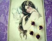 4 Purple Heart Charm GoldPlated Swarovski Amethyst Rhinestone Crystal