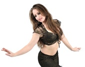 Gold and Black Lace Dance Top - bellydance, tribal fusion belly dance, tango, latin dance